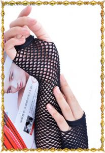 Длинные сетчатые черные перчатки
